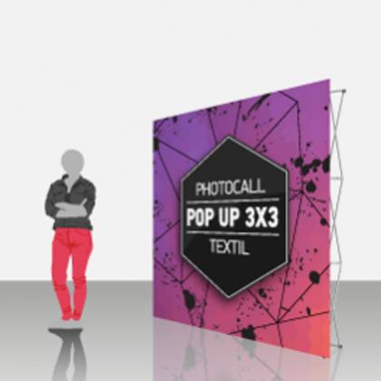 Photocall textil extensible 3x3, pop-up