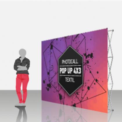 Photocall textil extensible 4x3, pop-up
