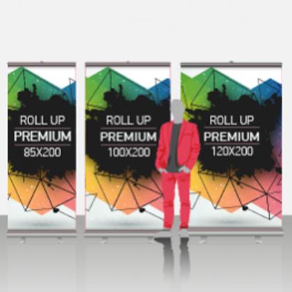 Expositor publicitario roll-up 2m alto